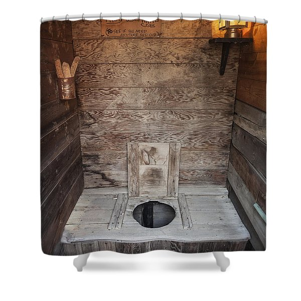 Shower Curtain featuring the photograph Outhouse Interior by Bryan Mullennix