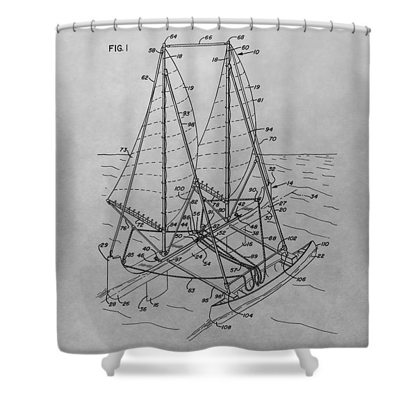 Outrigger Sailboat Patent Drawing Shower Curtain