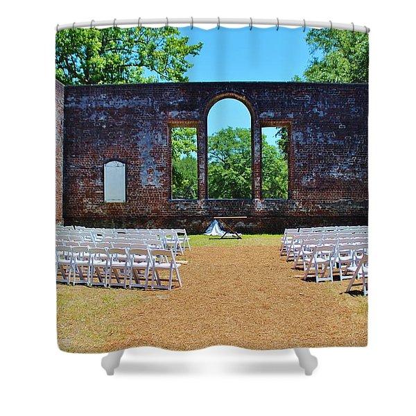 Outside Wedding Shower Curtain