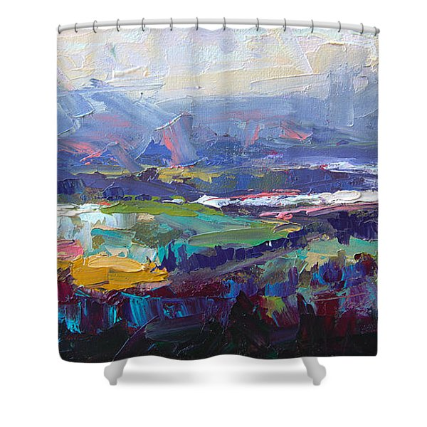 Overlook Abstract Landscape Shower Curtain