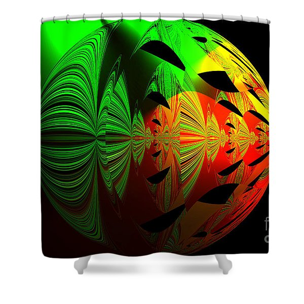 Art. Unigue Design.  Abstract Green Red And Black Shower Curtain