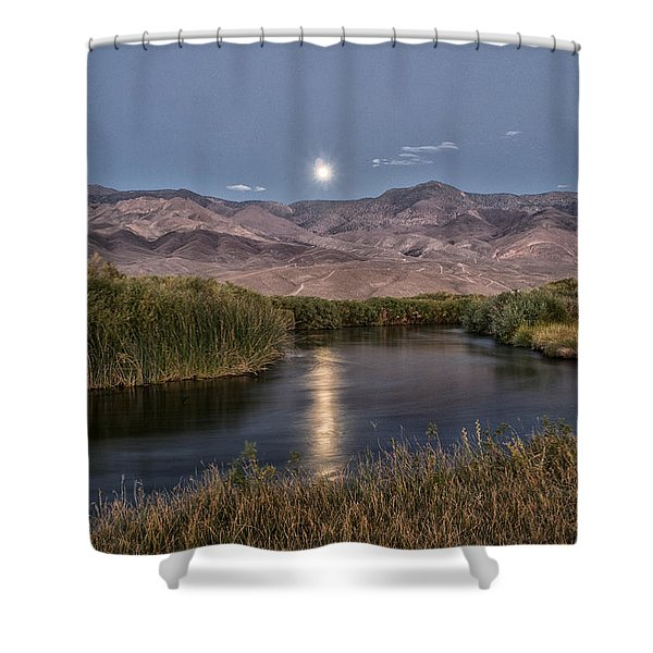 Owens River Moonrise Shower Curtain