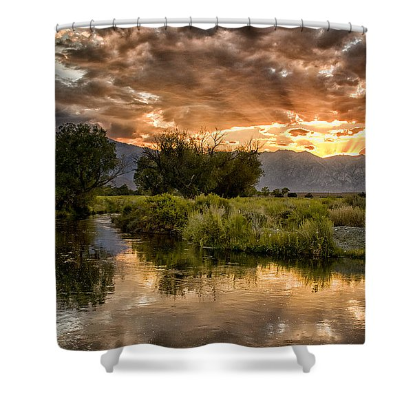 Owens River Sunset Shower Curtain