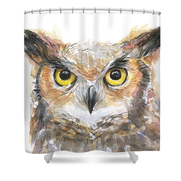 Owl Watercolor Portrait Great Horned Shower Curtain