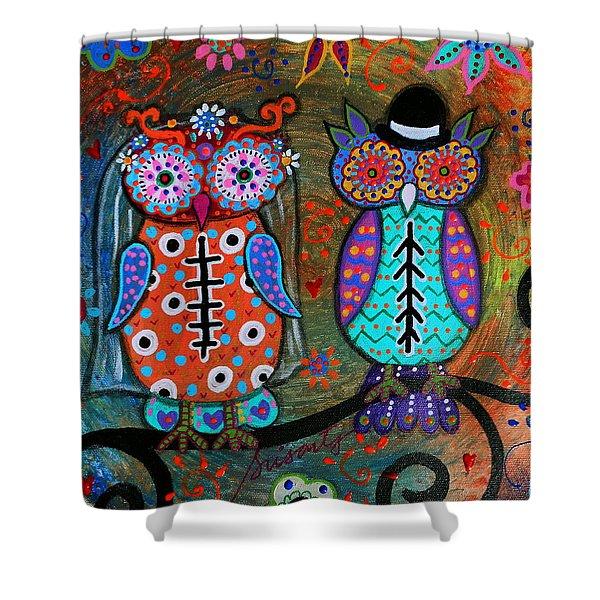 Owl Wedding Dia De Los Muertos Shower Curtain