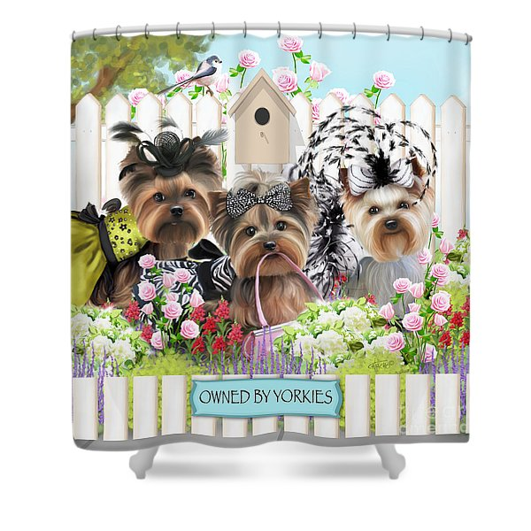 Owned By Yorkies II Shower Curtain