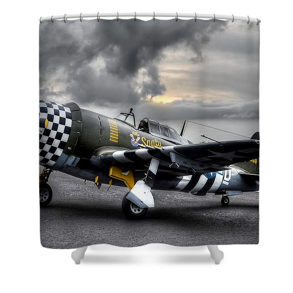 P-47 Sunset Shower Curtain