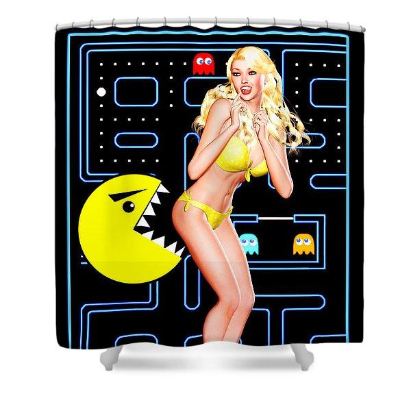 Pacman Girl - Once Bitten... Shower Curtain