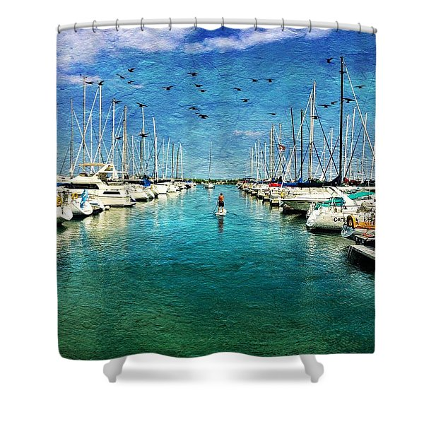 Paddle Boarder  In The Harbor Shower Curtain