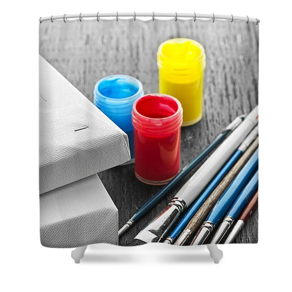 Paintbrushes With Canvas Shower Curtain