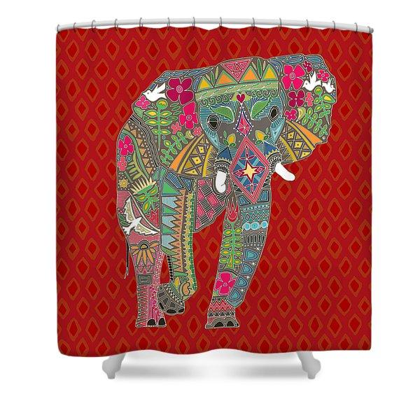 Painted Elephant Diamond Shower Curtain