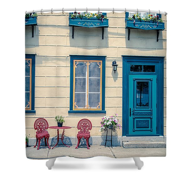 Painted Townhouse In Old Quebec City Shower Curtain
