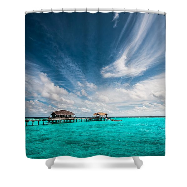 Painted With Turquoise. Maldives Shower Curtain