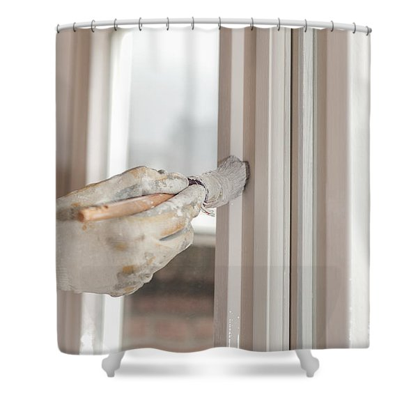 Painting A Window With White Shower Curtain