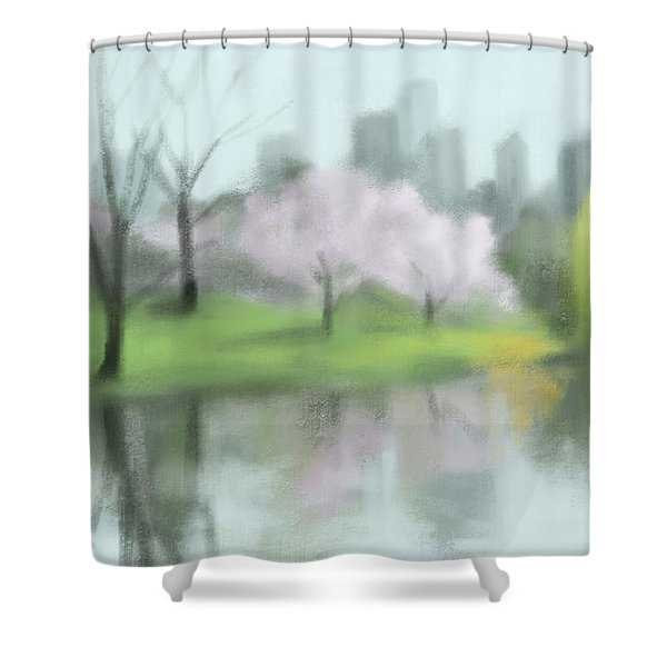 Painting Of Central Park In Spring Shower Curtain