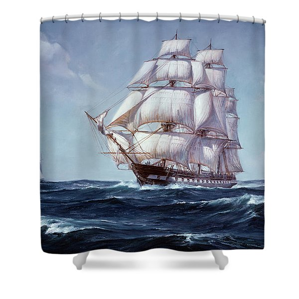 Painting Of The Square Rigged Frigate Shower Curtain