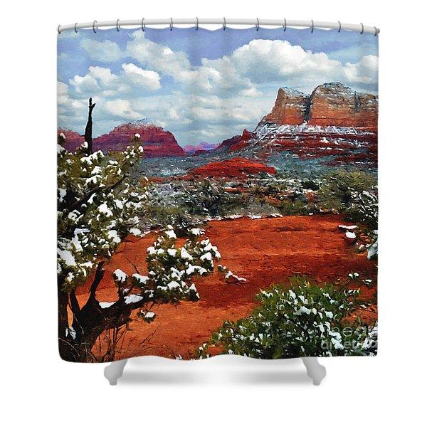 Painting Secret Mountain Wilderness Sedona Arizona Shower Curtain