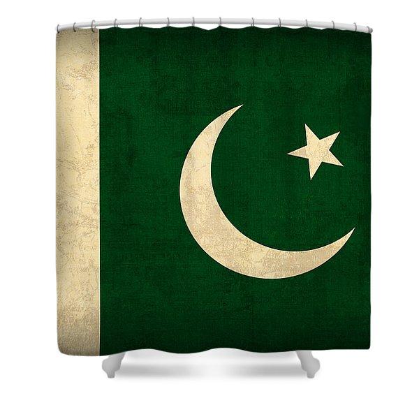 Pakistan Flag Vintage Distressed Finish Shower Curtain