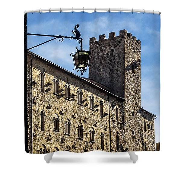 Palazzo Pretorio And The Tower Of Little Pig Shower Curtain