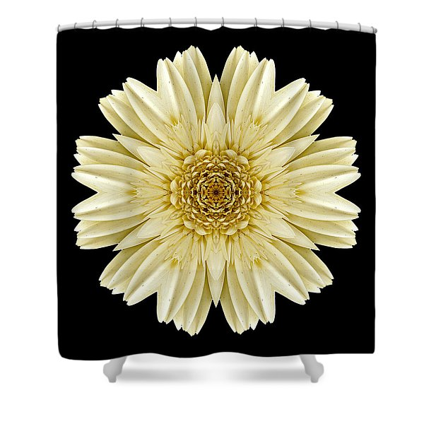 Pale Yellow Gerbera Daisy IIi Flower Mandala Shower Curtain