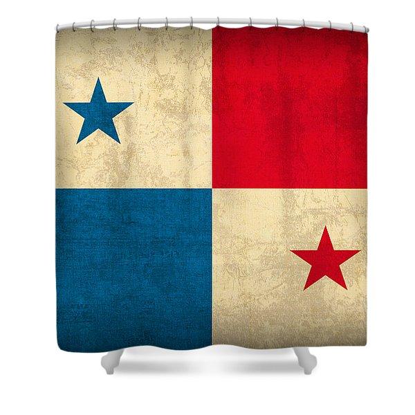 Panama Flag Vintage Distressed Finish Shower Curtain