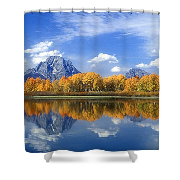 Panorama Fall Morning At Oxbow Bend Grand Tetons National Park Shower Curtain