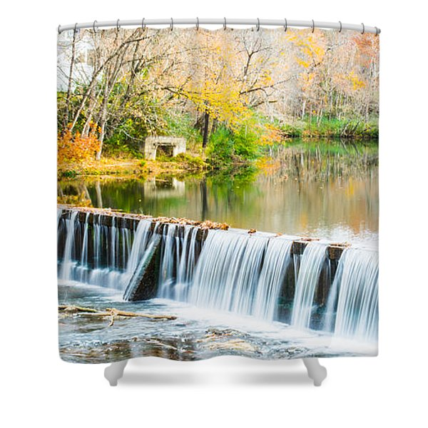 Panorama Of Buck Creek In Autumn Shower Curtain