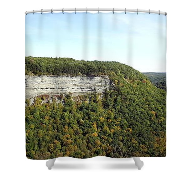Panorama Of Cliff At Letchworth State Park Shower Curtain
