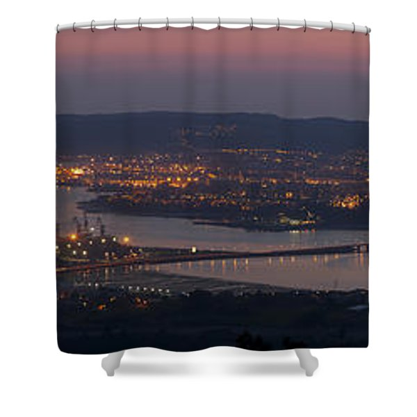 Panorama Of Ferrol From Mount Marraxon Galicia Spain Shower Curtain