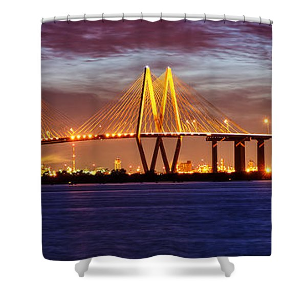 Panorama Of Fred Hartman Bridge Shower Curtain