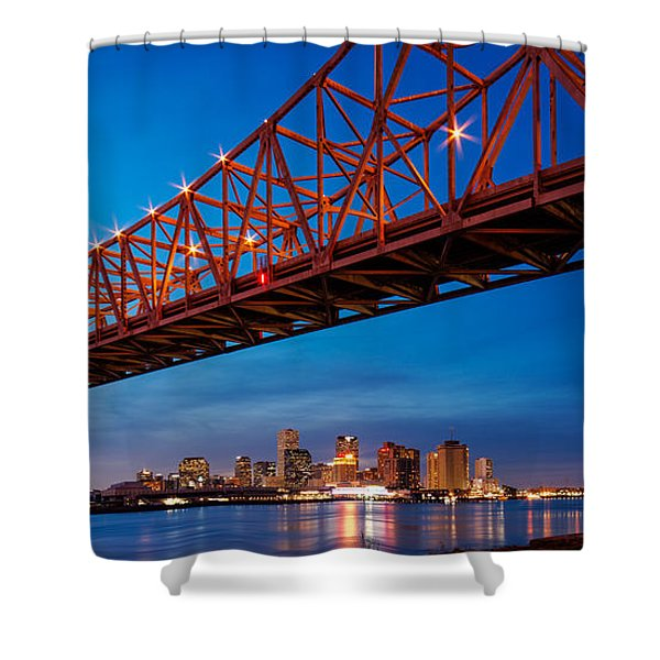 Panorama Of New Orleans And Crescent City Connection From Gretna At Dusk - Louisiana Shower Curtain