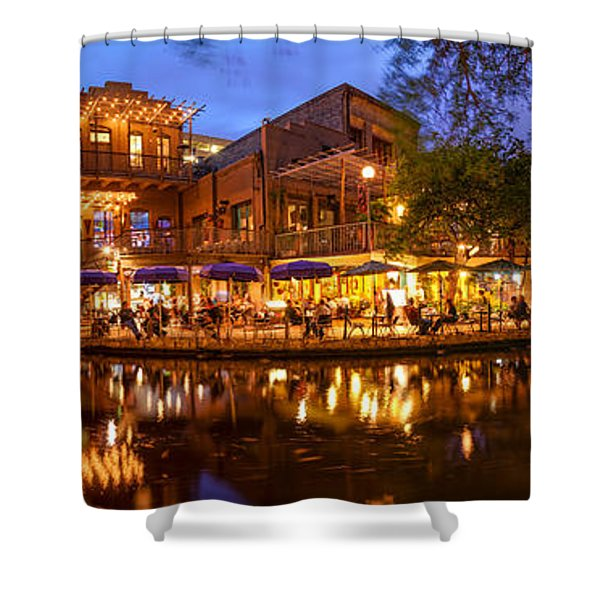 Panorama Of San Antonio Riverwalk At Dusk - Texas Shower Curtain