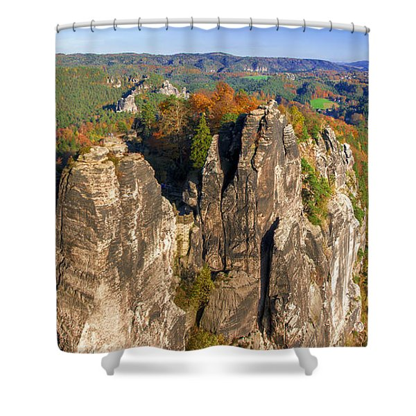 Panoramic Views Of Neurathen Castle Shower Curtain