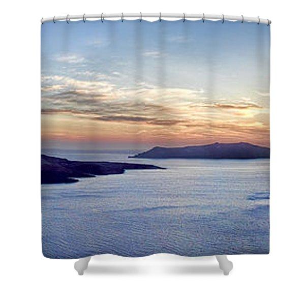 Panorama Santorini Caldera At Sunset Shower Curtain