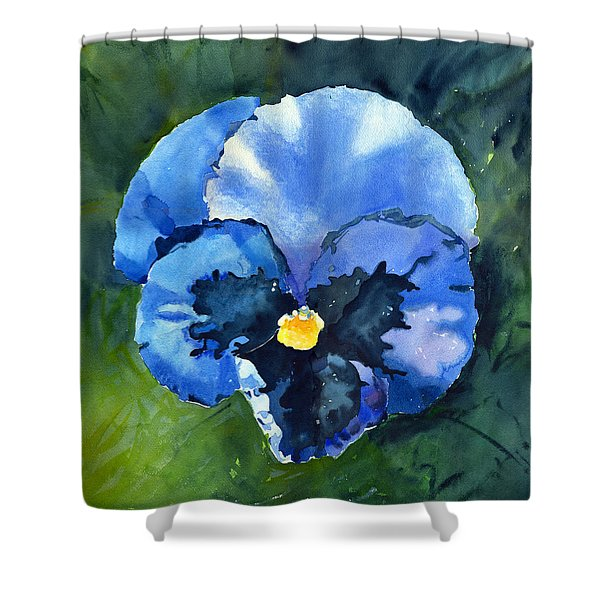 Pansy Blue Shower Curtain
