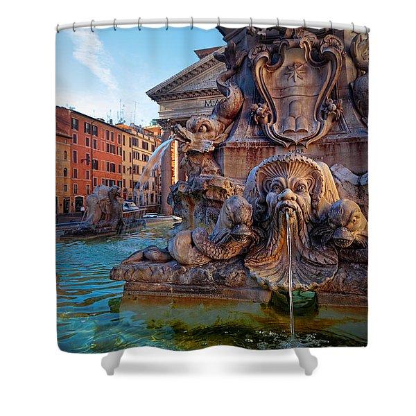 Pantheon Fountain Shower Curtain