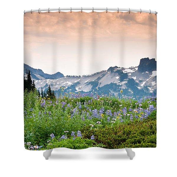 Paradise Meadows And The Tatoosh Range Shower Curtain
