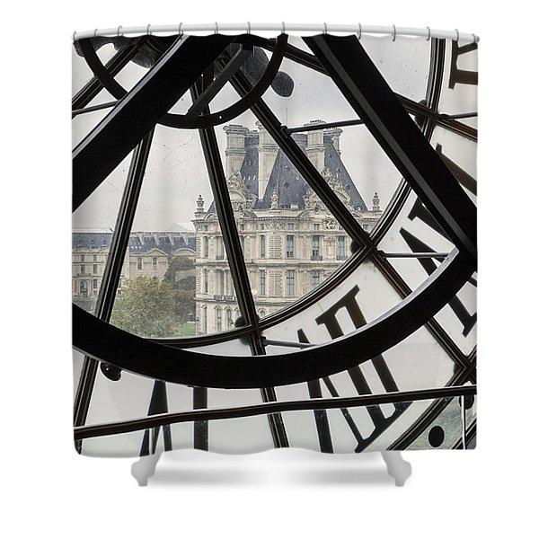 Shower Curtain featuring the photograph Paris Clock by Brian Jannsen