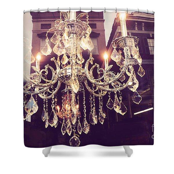 Paris Crystal Chandelier Sparkling Lights - Golden Paris Chandelier Window Reflections Shower Curtain