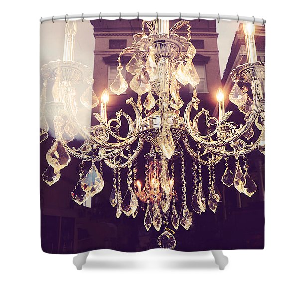 Paris Crystal Chandelier Sparkling Lights - Golden Paris Chandelier Window Reflections Shower Curtain