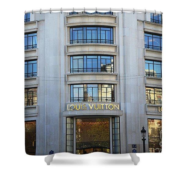 Paris Louis Vuitton Fashion Boutique - Louis Vuitton Designer Storefront In Paris Shower Curtain