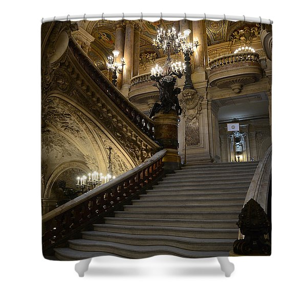 Paris Opera Garnier Grand Staircase - Paris Opera House Architecture Grand Staircase Fine Art Shower Curtain