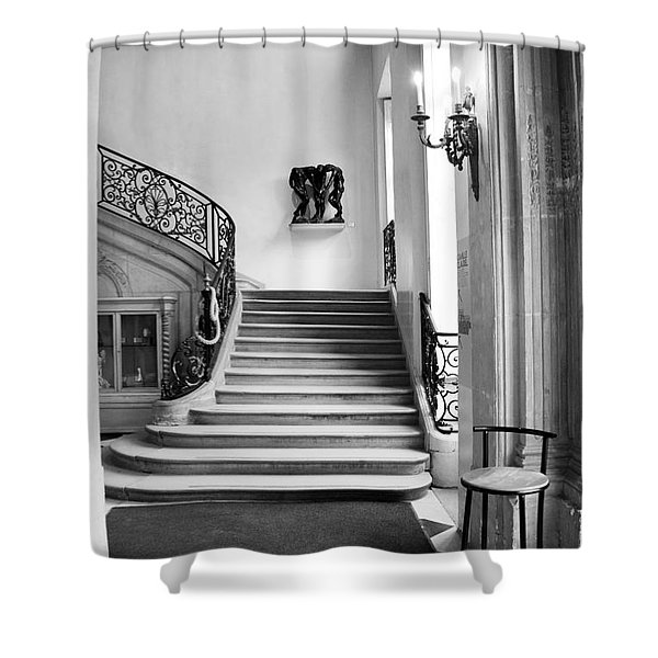 Paris Rodin Museum Black And White Fine Art Architecture - Rodin Museum Entry Staircase Shower Curtain