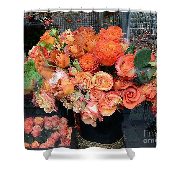 Paris Roses Autumn Fall Peach Orange Roses - Paris Roses Flower Market Shop Window Shower Curtain
