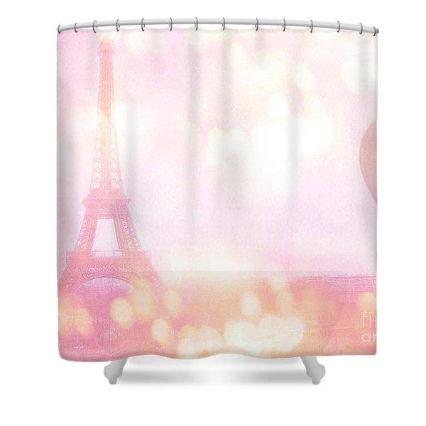 Paris Shabby Chic Romantic Dreamy Pink Eiffel Tower With Hot Air Balloon Shower Curtain