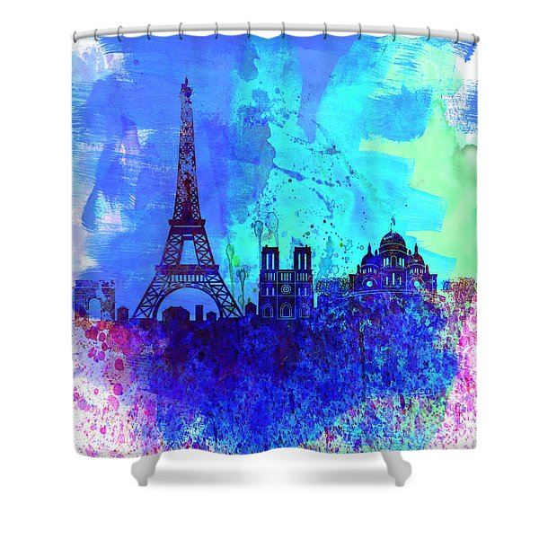 Paris Watercolor Skyline Shower Curtain