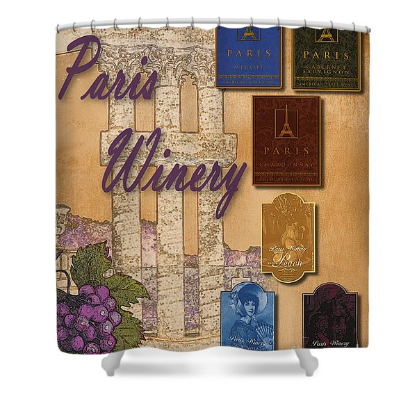 Paris Winery Labels Shower Curtain