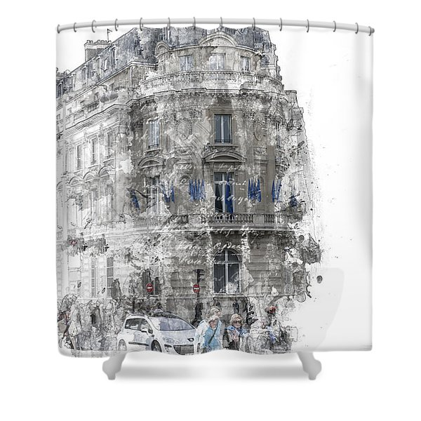 Paris With Flags Shower Curtain