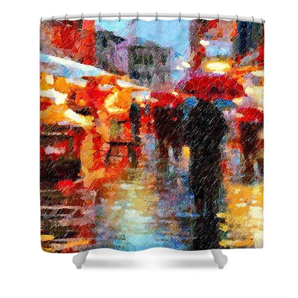 Parisian Rain Walk Abstract Realism Shower Curtain