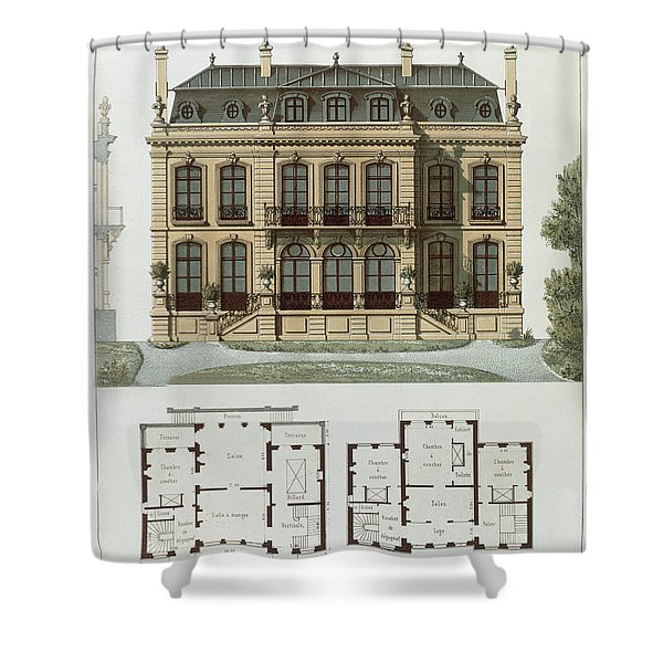 Parisian Suburban House And Plans Shower Curtain